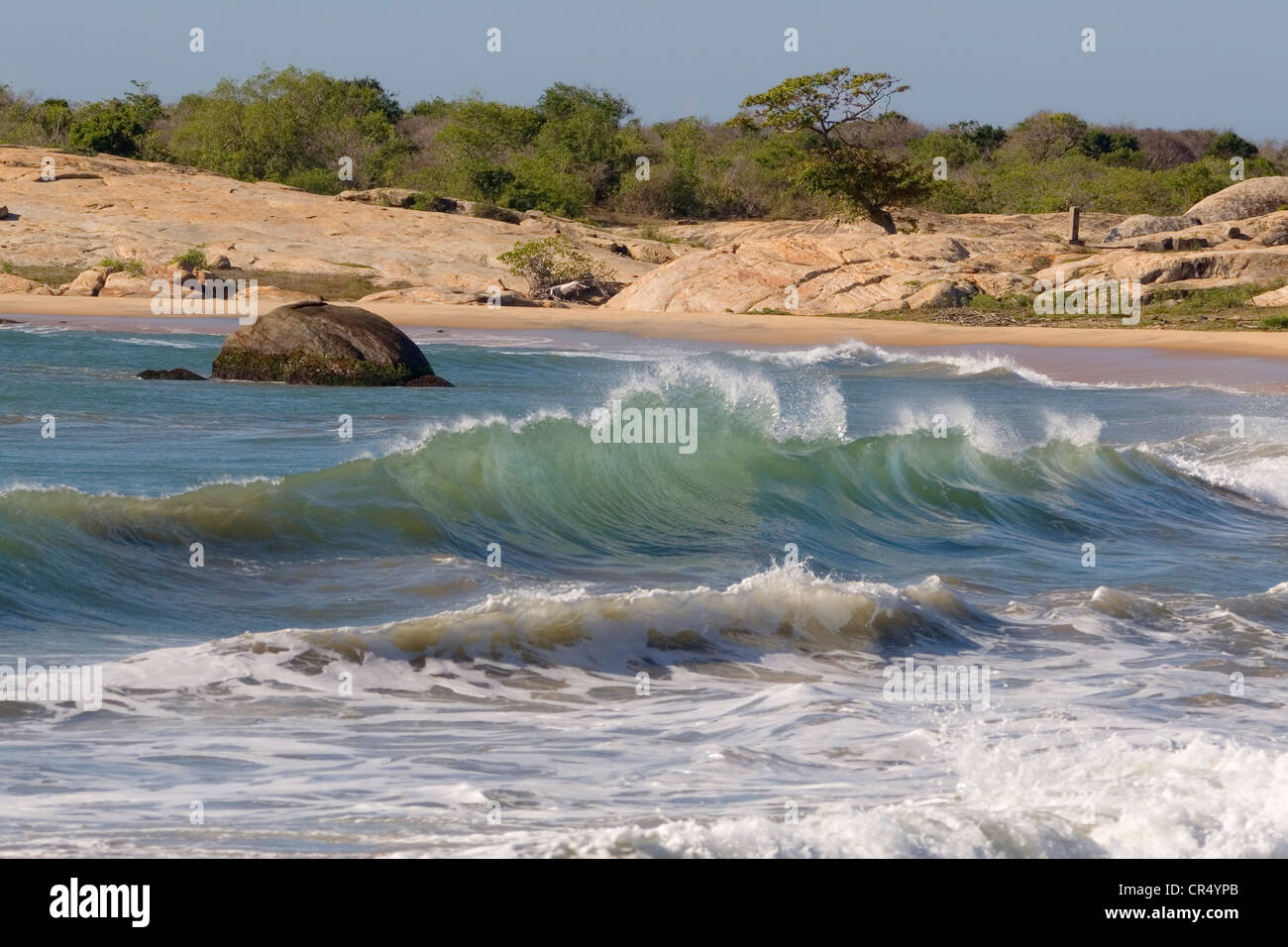 Patanangala Beach surf, Yala West (Ruhuna) National Park, Sri Lanka - Stock Image