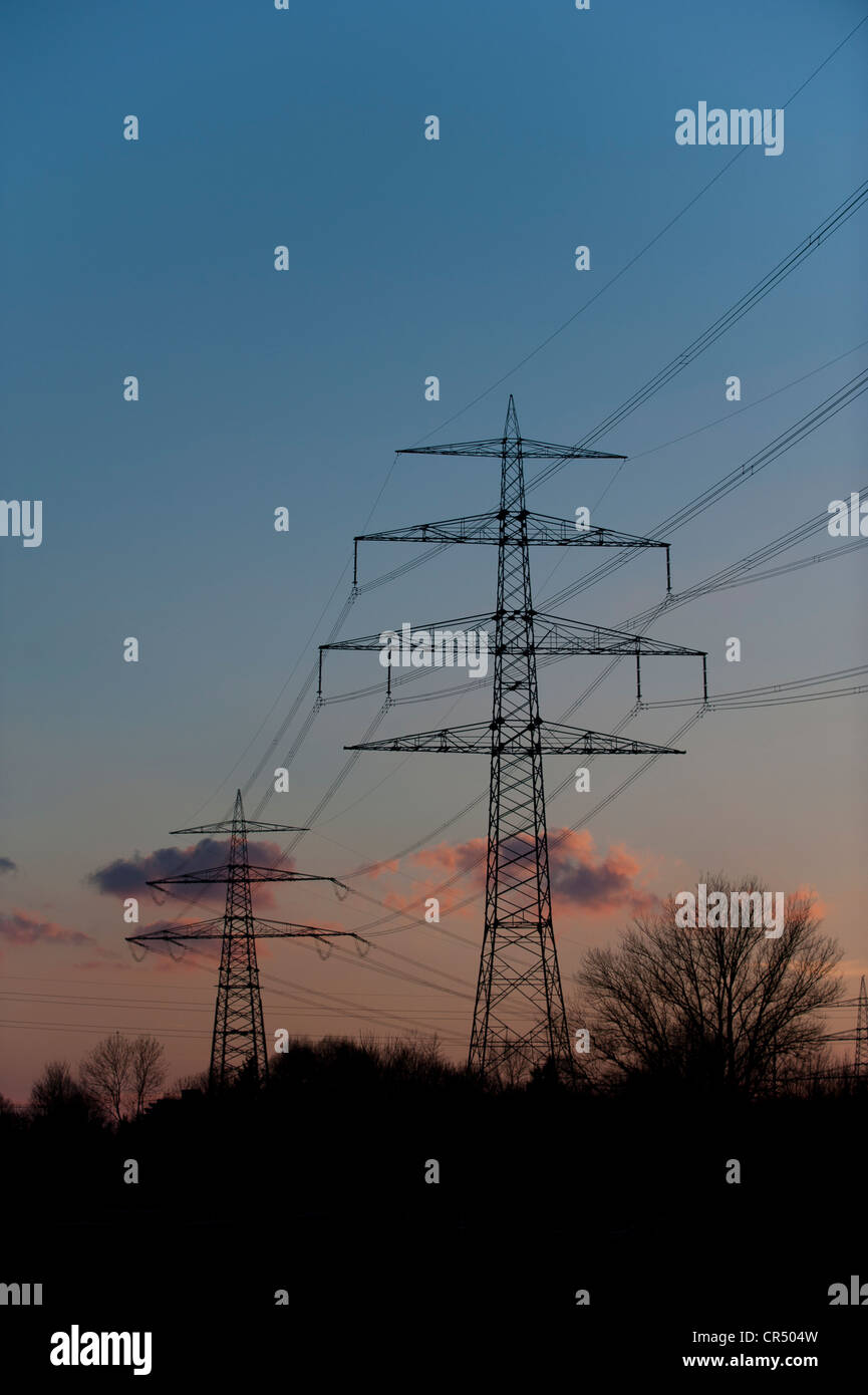 High-voltage power lines, Germany, Europe - Stock Image