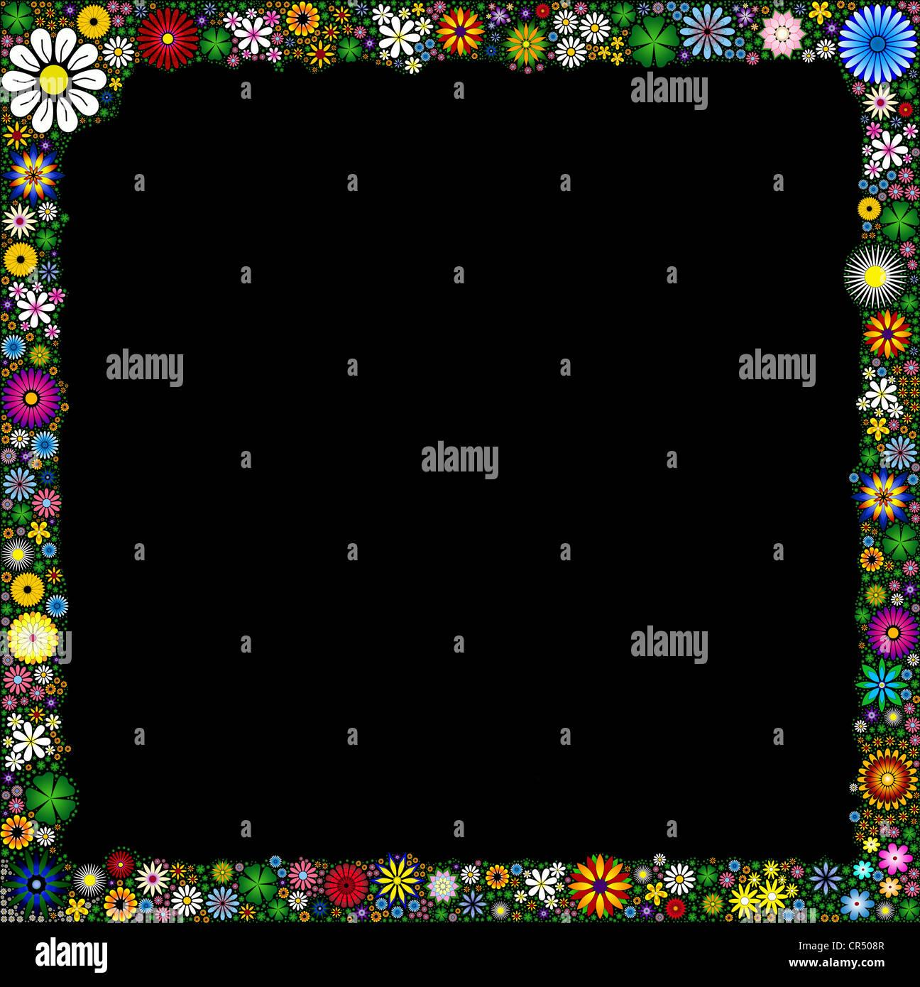 Flower frame / border on black background - Stock Image