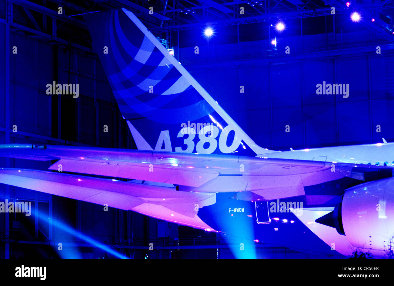France, Haute Garonne, Blagnac, on january 2005 the 18th, Jean-Luc Lagardere firm, Airbus A380 unveiling - Stock Image