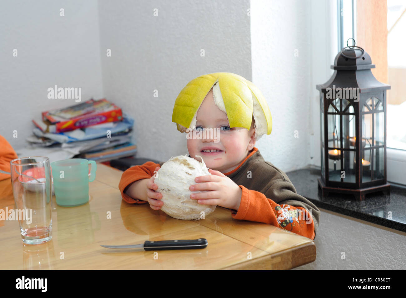 Boy, 2 years, sitting at the table, with pomelo skin on his head - Stock Image