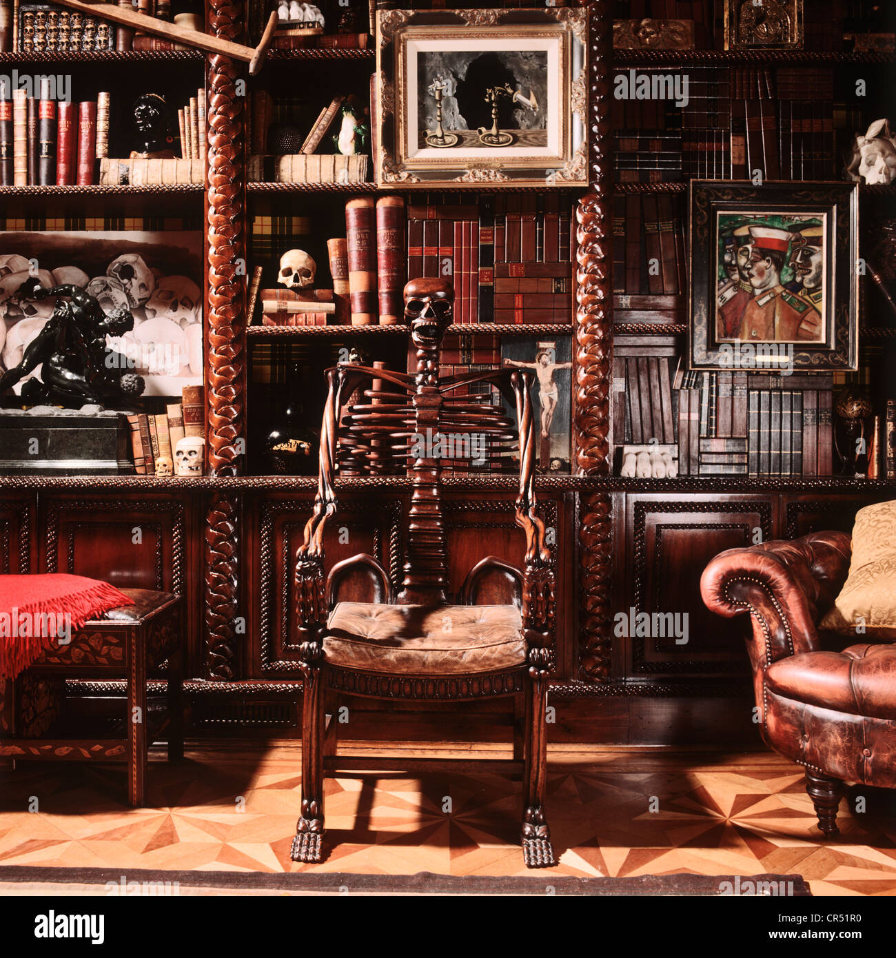 russian carved skeleton chair circa 1890 with other sinister objects