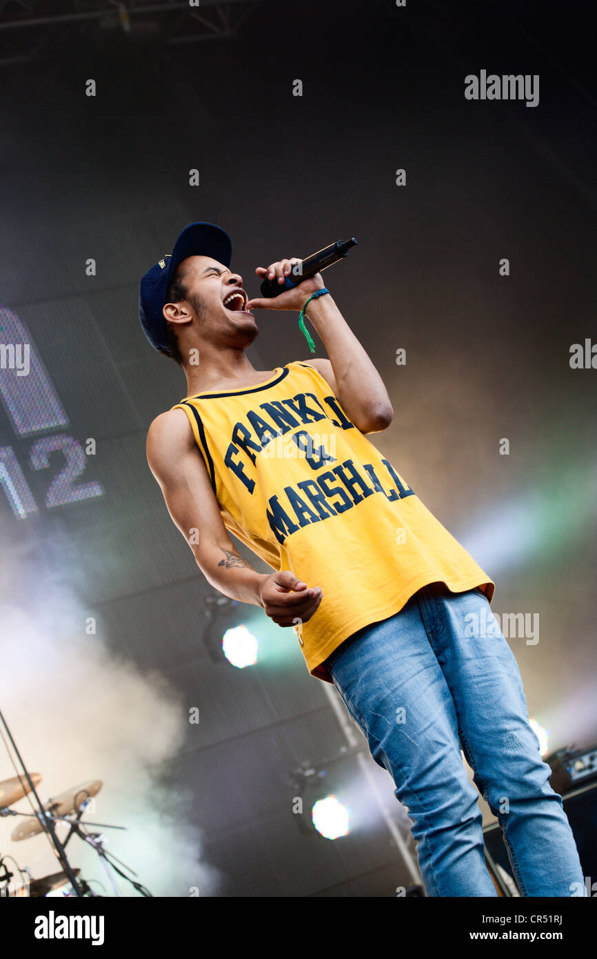 Harley Sylvester Alexander Sule of Rizzle Kicks at Evolution Festival 2012 at Spillers Wharf in Newcastle upon Tyne - Stock Image
