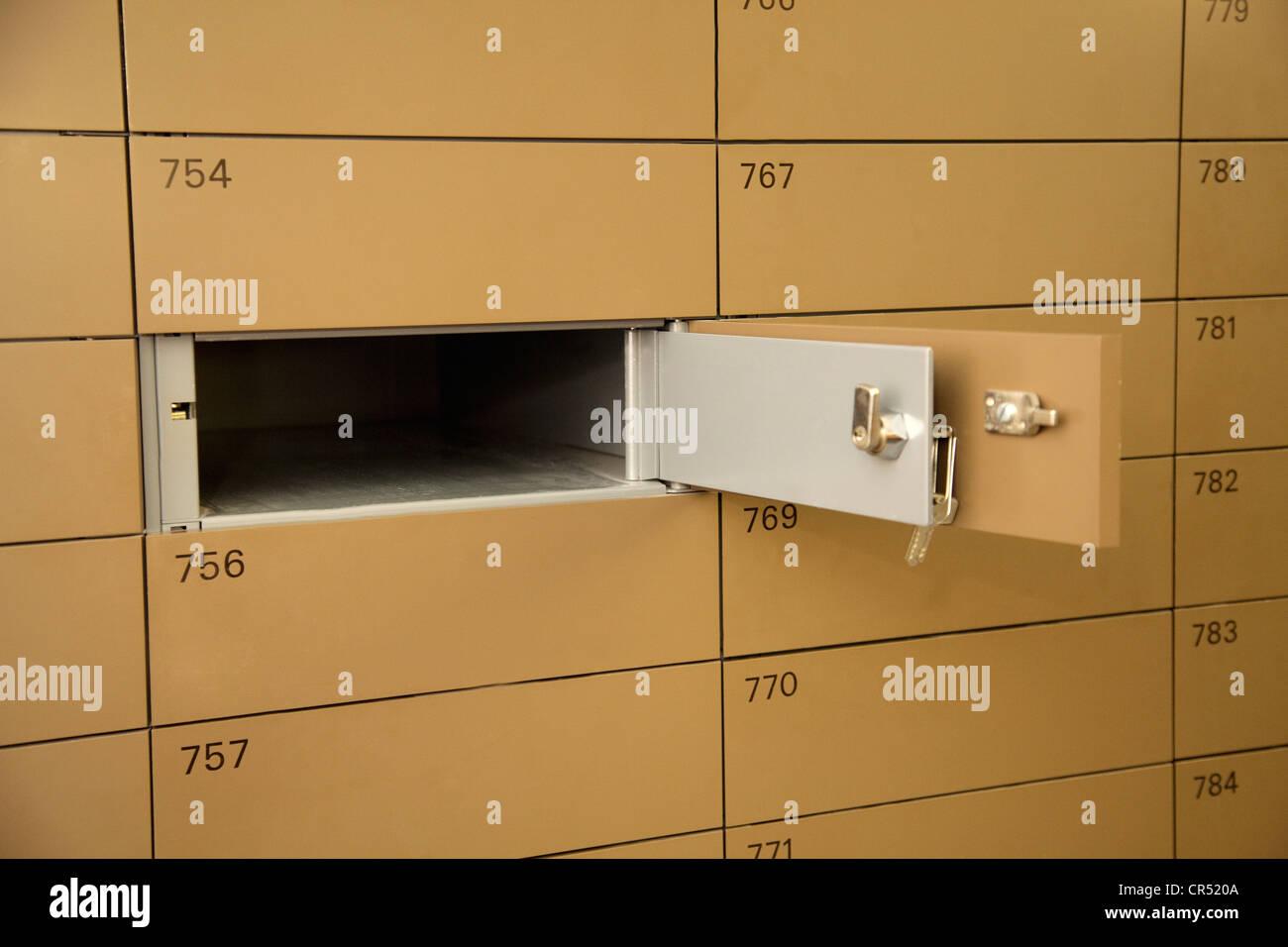 Empty safe-deposit box - Stock Image