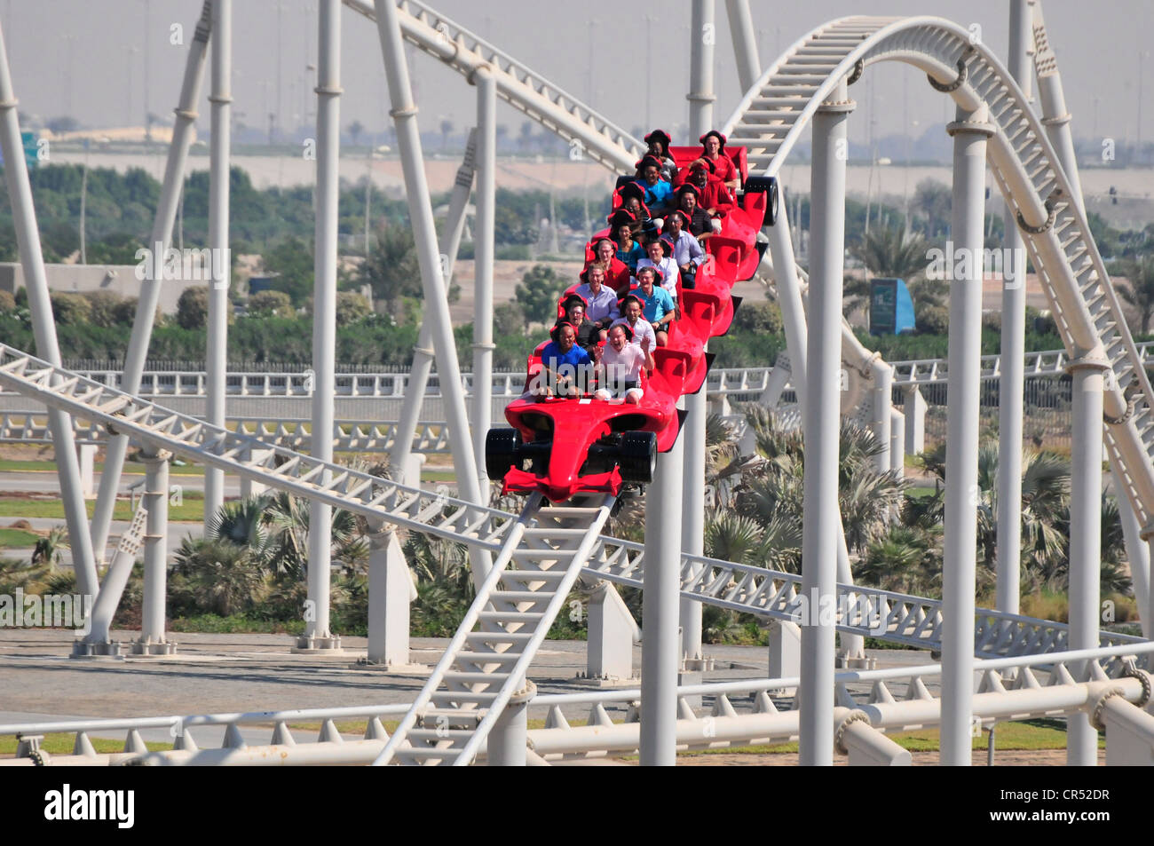 The Fastest Roller Coaster In The World At 240 Mph Ferrari World On Stock Photo Alamy