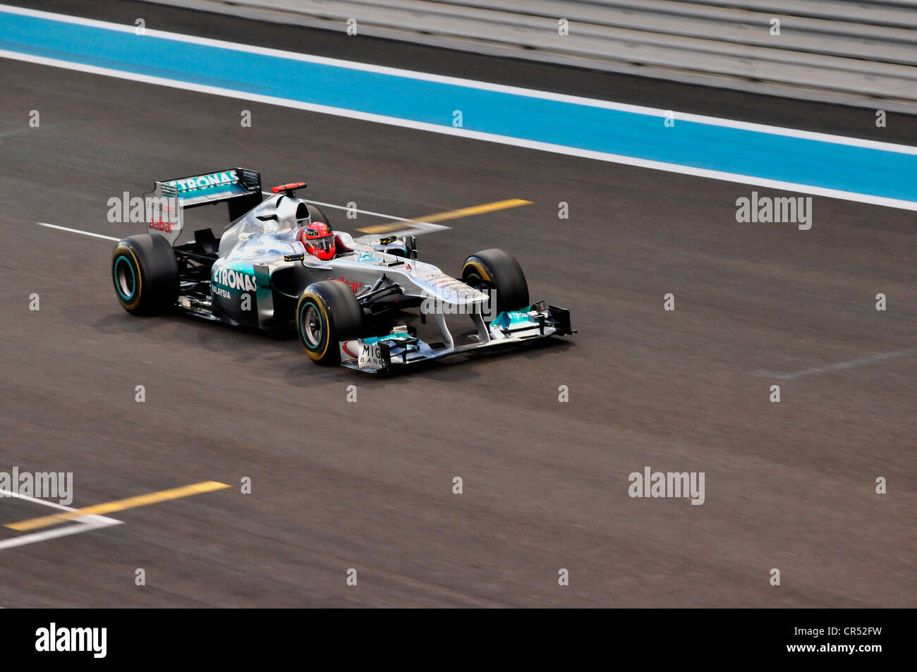 Formula One racing car of Michael Schumacher, Germany, start number 7, of the Team Mercedes-GP on the Yas Marina - Stock Image