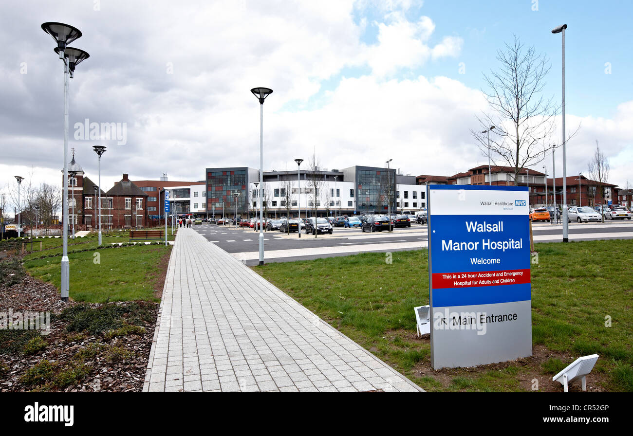 Exterior of Walsall Manor Hospital, Walsall West Midlands - Stock Image