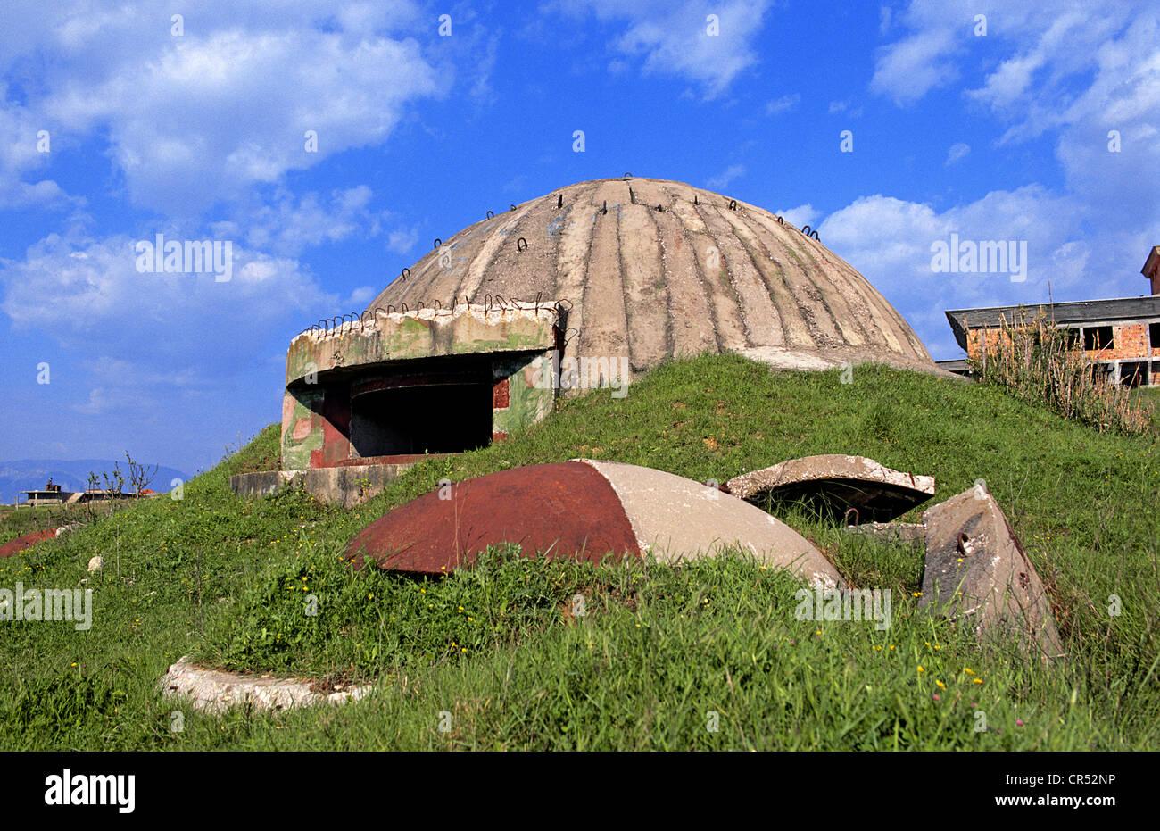 Albania, surroundings of Tirana, bunker on the road towards Durres - Stock Image