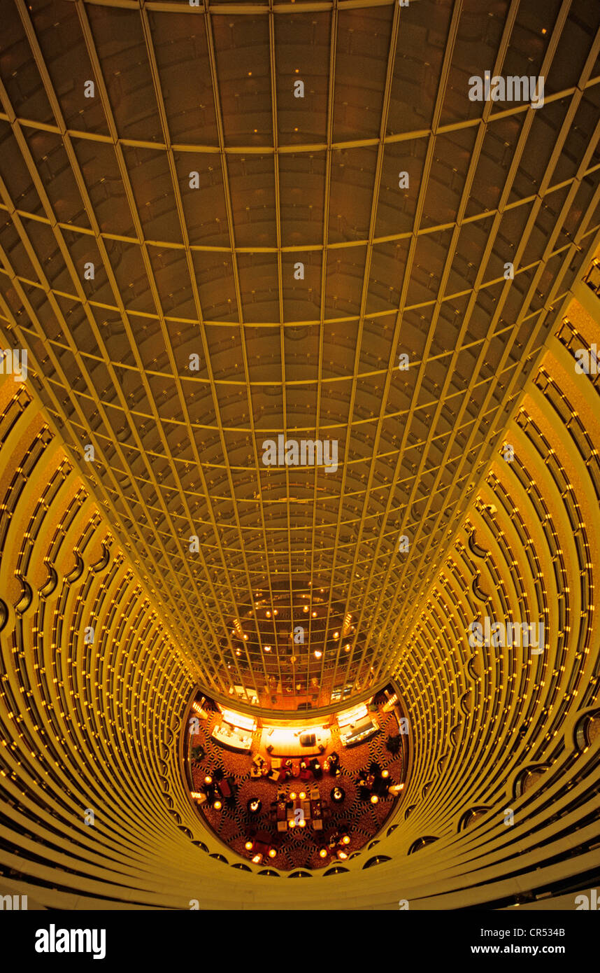 China, Shanghai, Pudong District, Grand Hyatt Hotel dans la Jinmao Tower by the American architect firm Skidmore, - Stock Image