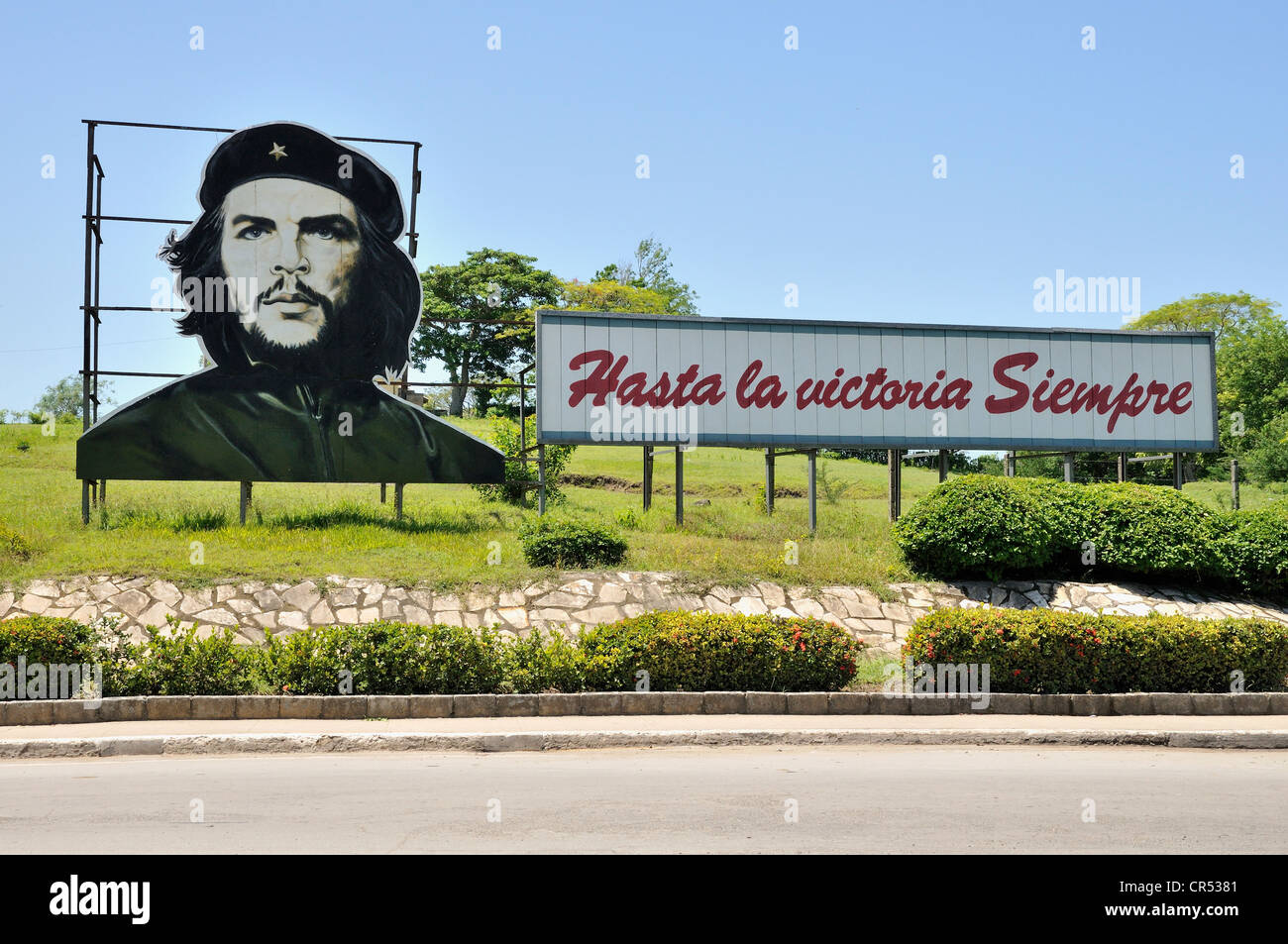 Revolutionary propaganda, 'Hasta la victoria siempre', Spanish for 'ever onward to victory' with - Stock Image