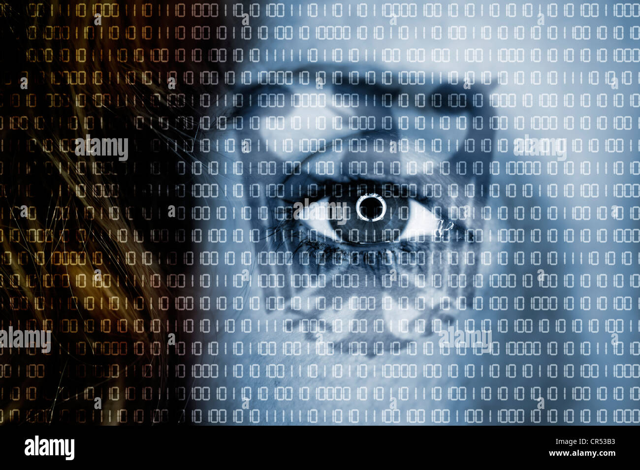 Woman's eye with the German Federal Eagle and binary numeric code superimposed over it, symbolic image for Trojan - Stock Image
