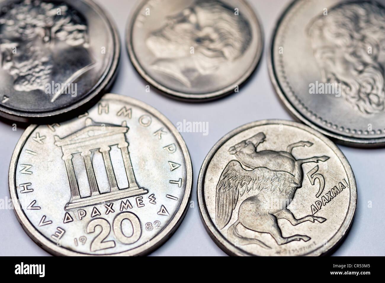 Greek drachmas - Stock Image