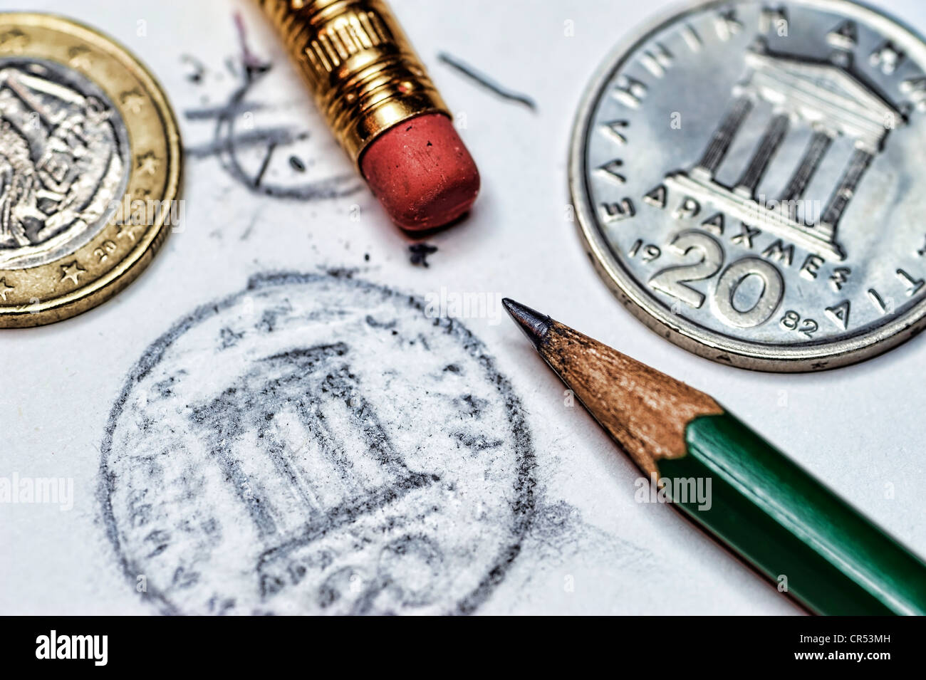Greek drachmas and an erased euro symbol, symbolic image of the possible discontinuation of the euro in Greece - Stock Image