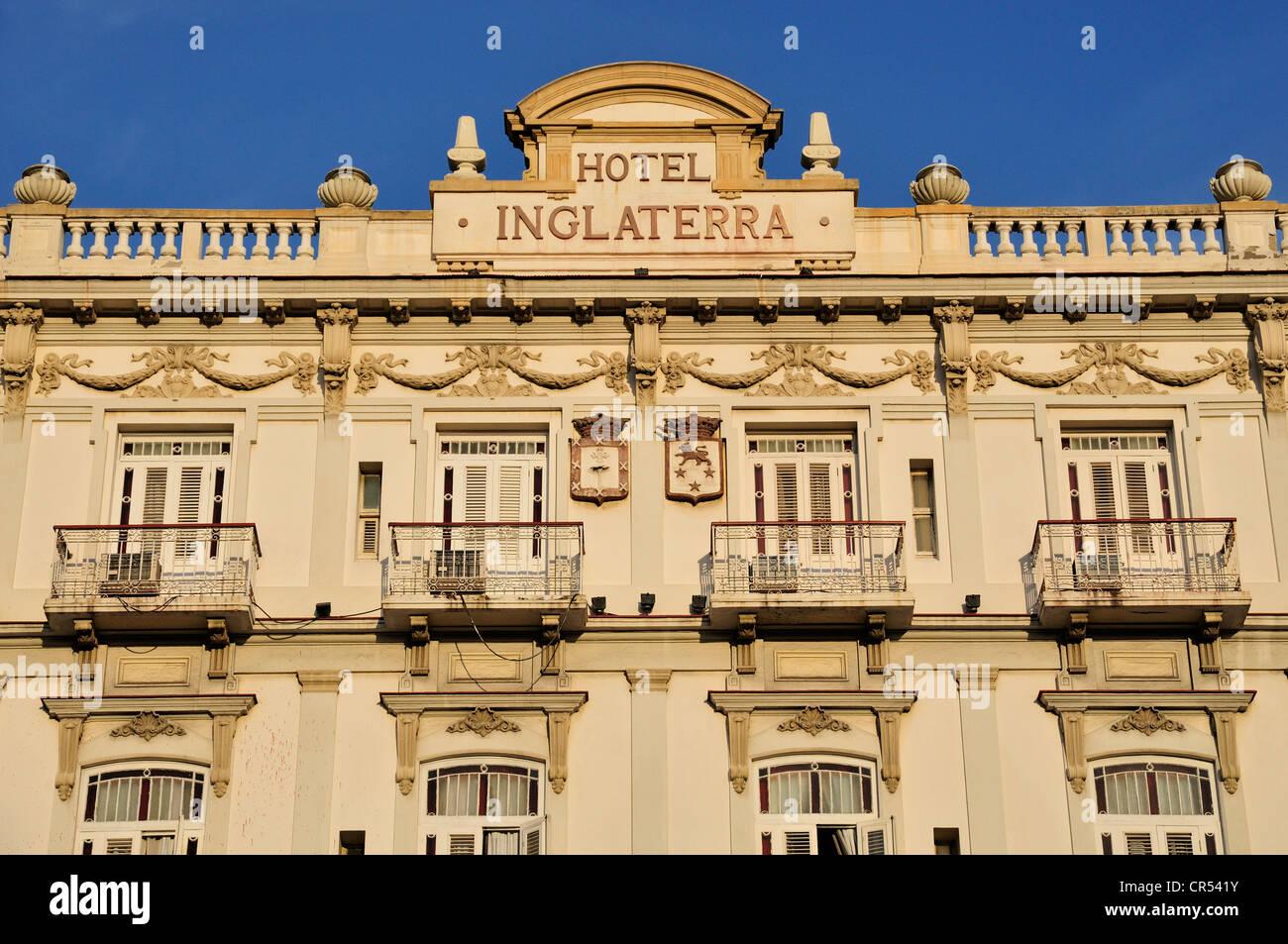 Facade of the Inglaterra Hotel, Habana Vieja, Old Havana, Havana, Cuba, Caribbean - Stock Image
