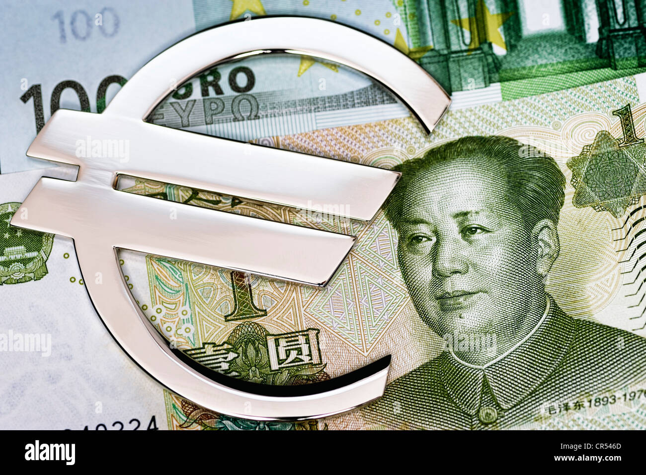 Chinese yuan and a euro sign, symbolic image, China offered help for the euro - Stock Image