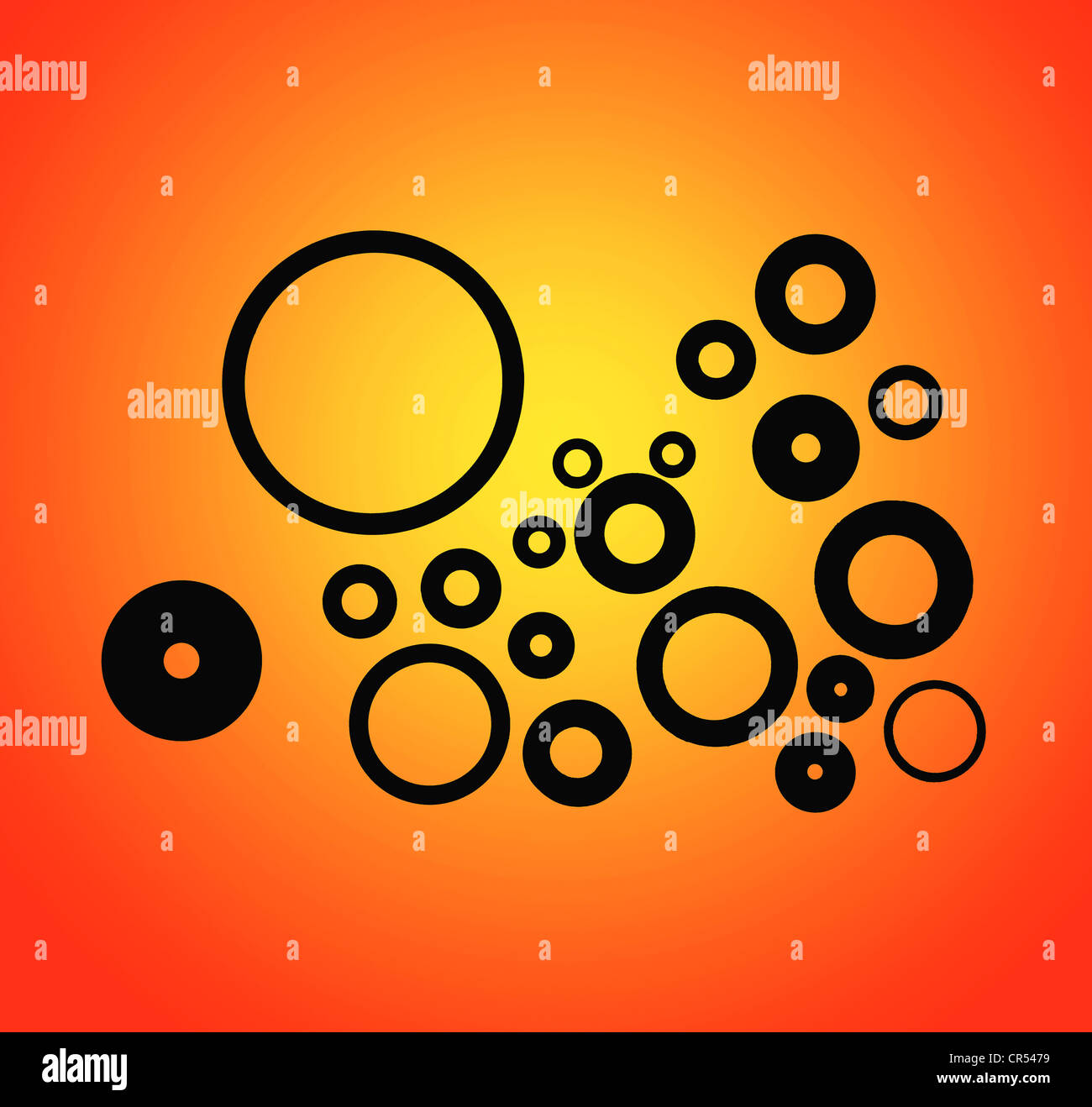 A back lit graduated background image of washers and 'O' rings - Stock Image