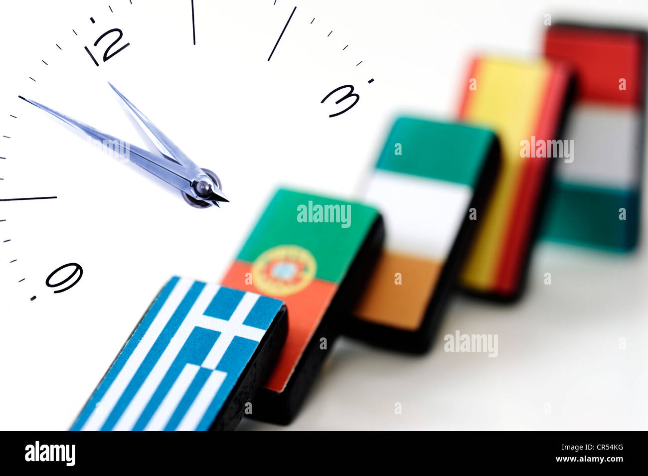Domino effect in EU countries, debt crisis, 11:55, high noon, symbolic image - Stock Image