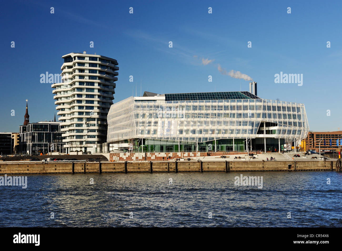 Unilever headquarter building and Marco Polo Tower, Strandkai in the Hafencity quarter of Hamburg, Germany, Europe - Stock Image