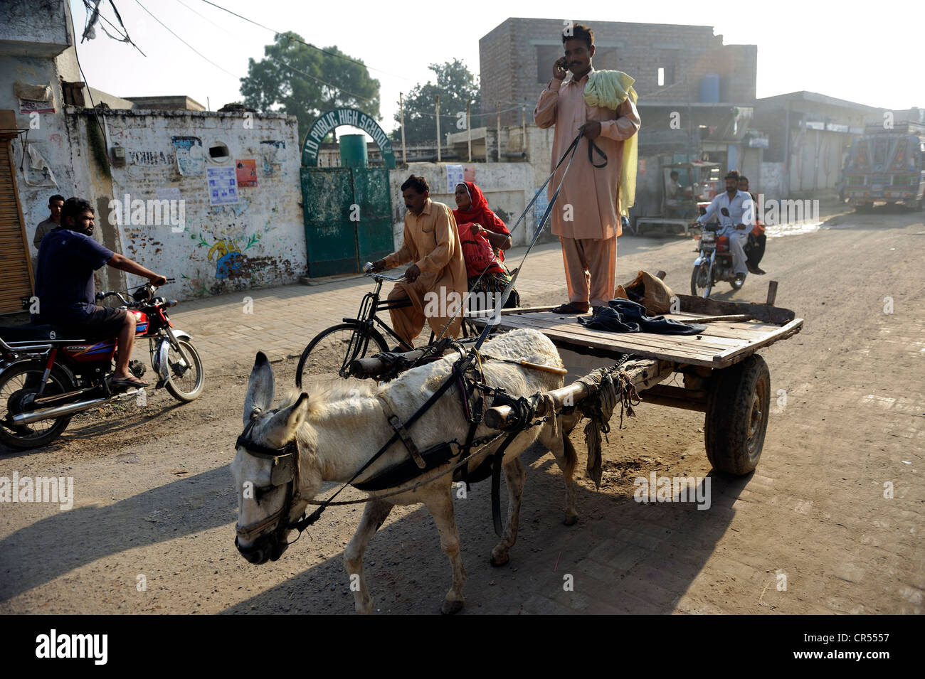 Man riding a donkey cart speaking on a mobile phone, street scene in the Christian quarter of Youhanabad, Lahore, - Stock Image
