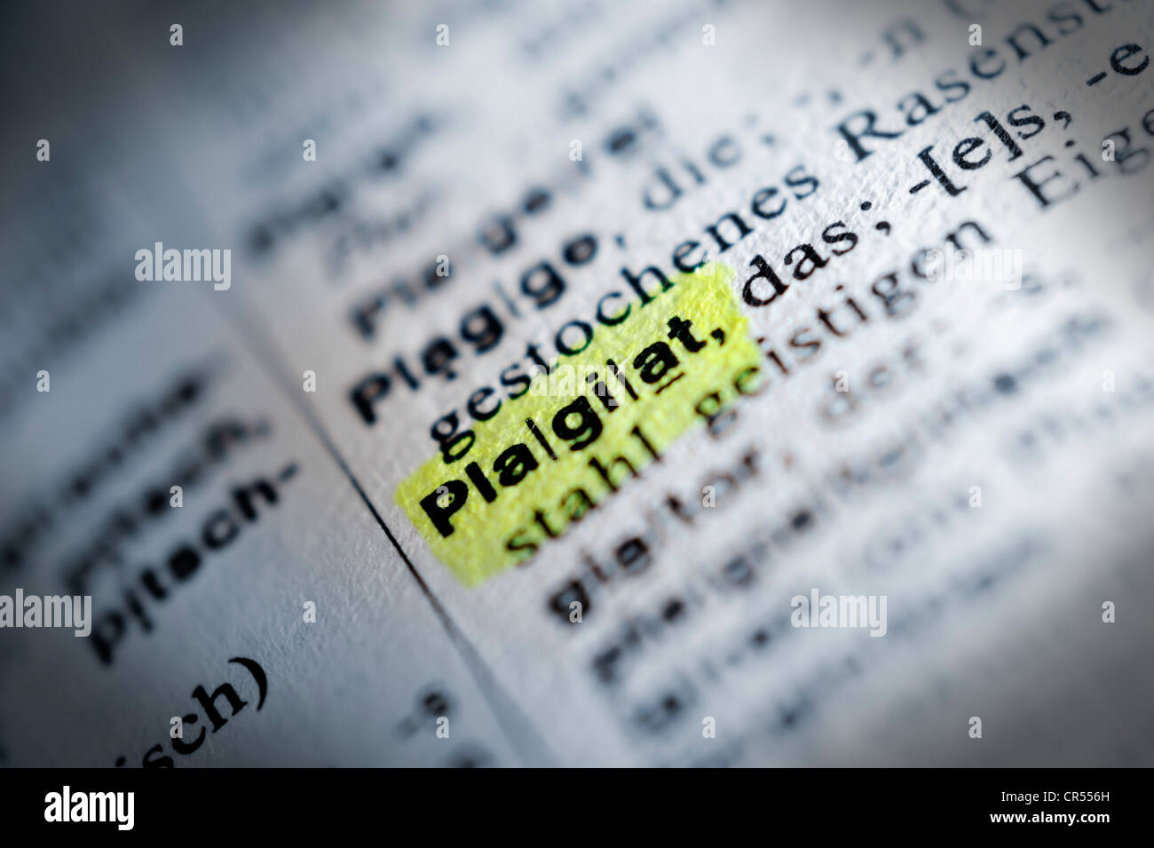 Definition of plagiarism in a German dictionary, Plagiat - Stock Image