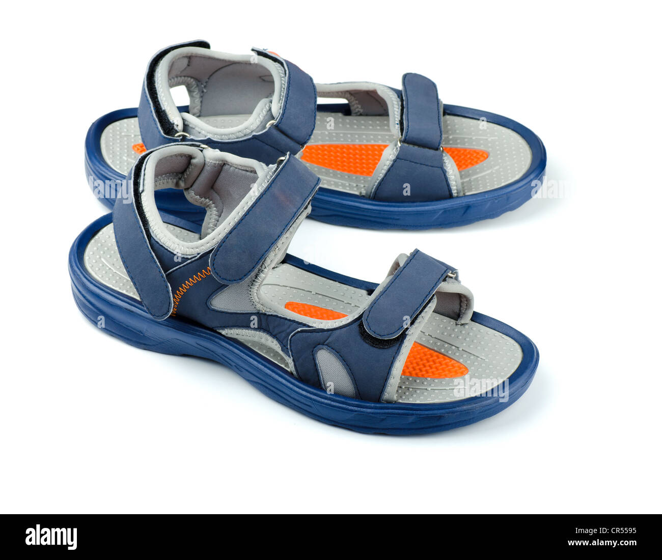 ae193fdef65c Pair of blue mens sandals isolated on white Stock Photo  48671761 ...