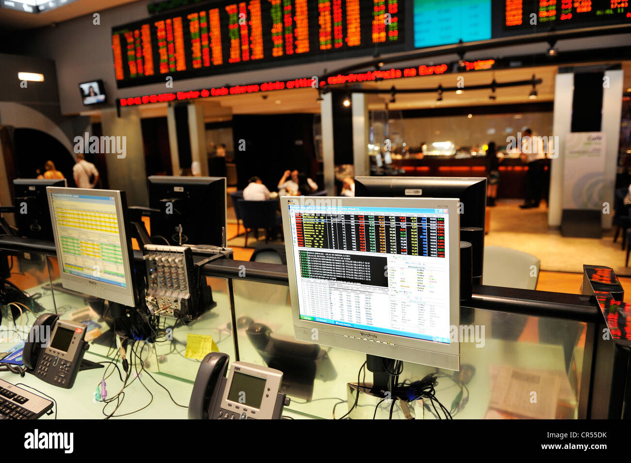 Computer monitors and displays with stock market prices, visitor centre of Bovespa, the Sao Paulo Stock Exchange, - Stock Image