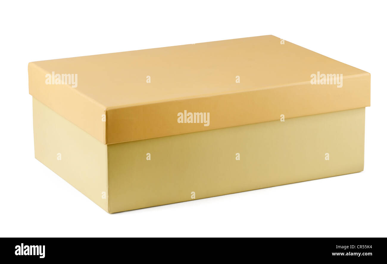 Closed cardboard shoe box isolated on white - Stock Image