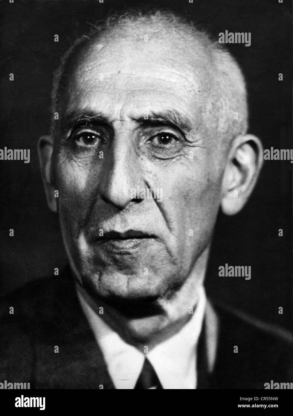 Mossadegh, Muhammad, circa 1881 - 5.3.1967, Iran politician (national front), Prime Minister 1951 - 1953, portrait, - Stock Image
