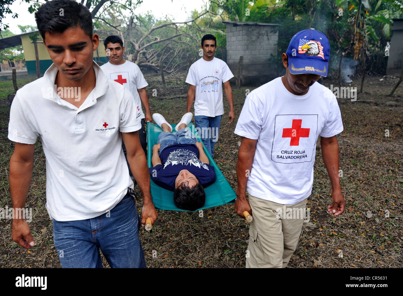 Disaster prevention, Red Cross volunteers in El Salvador during a rescue exercise, El Salvador is the country most - Stock Image