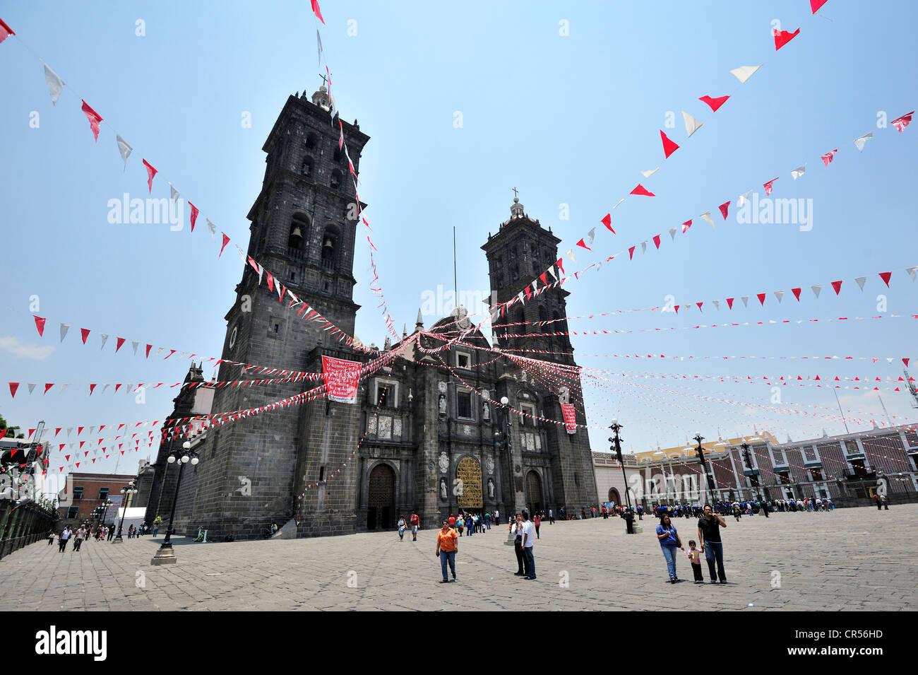 Puebla Cathedral, Puebla, UNESCO World Heritage Site, Mexico, Latin America, North America - Stock Image