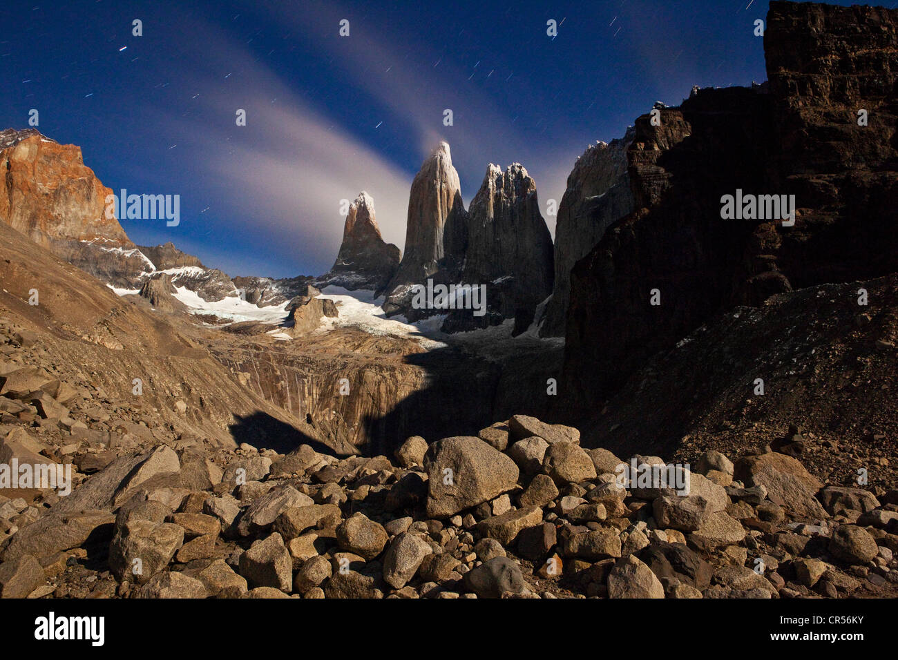 Moonlight over the Torres del Paine mountain group, Torres del Paine National Park, Patagonia region, Chile, South - Stock Image
