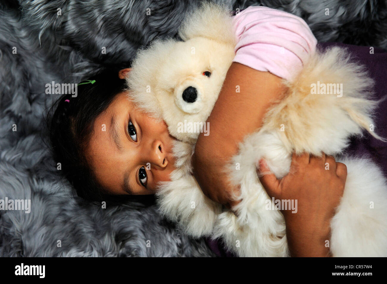 Girl with indigenous facial features hugging a teddy bear, production of soft toys and carpets from alpaca fur in - Stock Image