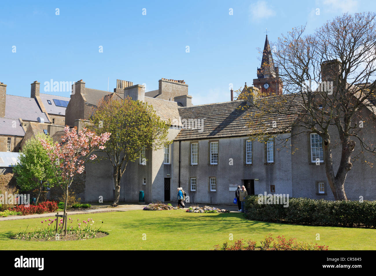 Rear entrance to Orkney Museum housed in Tankerness House from the garden in summer. Kirkwall Orkney Islands Scotland - Stock Image