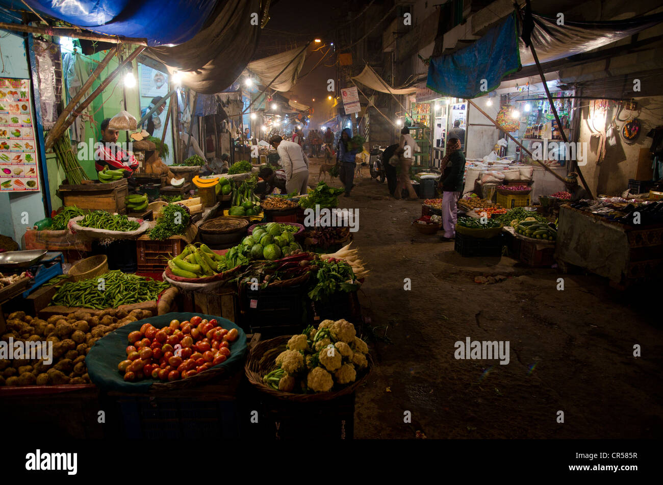 Vegetable stall on the nightmarket in the suburb of Paharganj, New Delhi, India, Asia - Stock Image