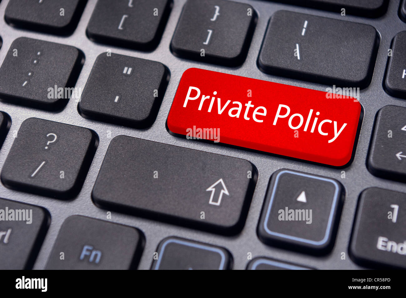 message on keyboard enter key, for privacy policy concepts - Stock Image