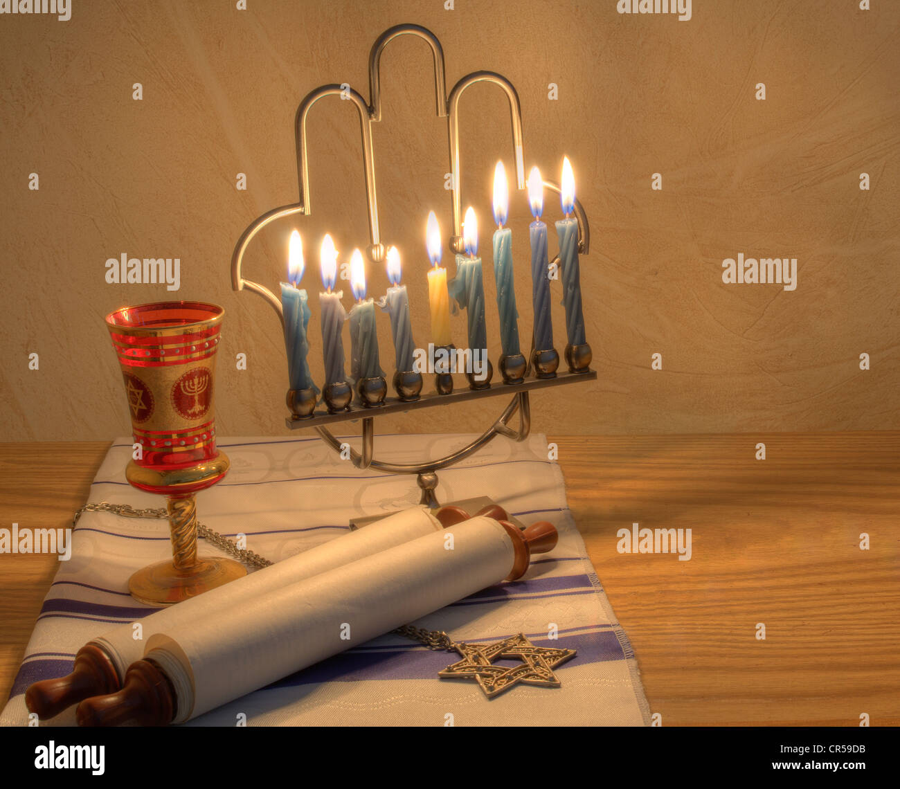 A Judaic Hannukah Menorah, and other objects. - Stock Image