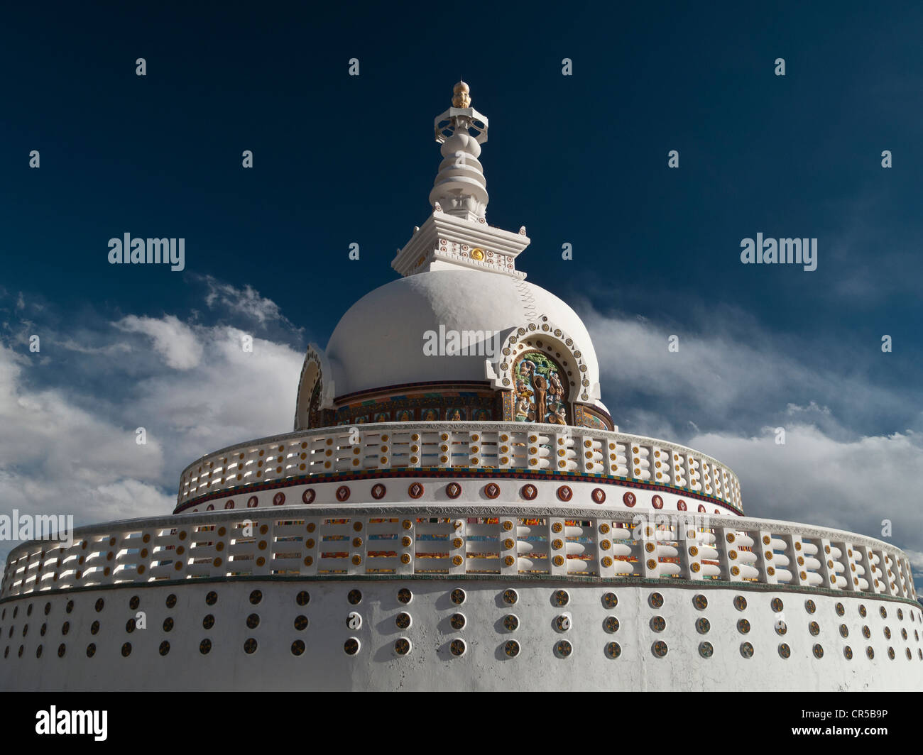 Shanti Stupa in Leh, a Japanese gift to Ladakh to commemorate 2500 years of Buddhism and to promote World Peace, Stock Photo