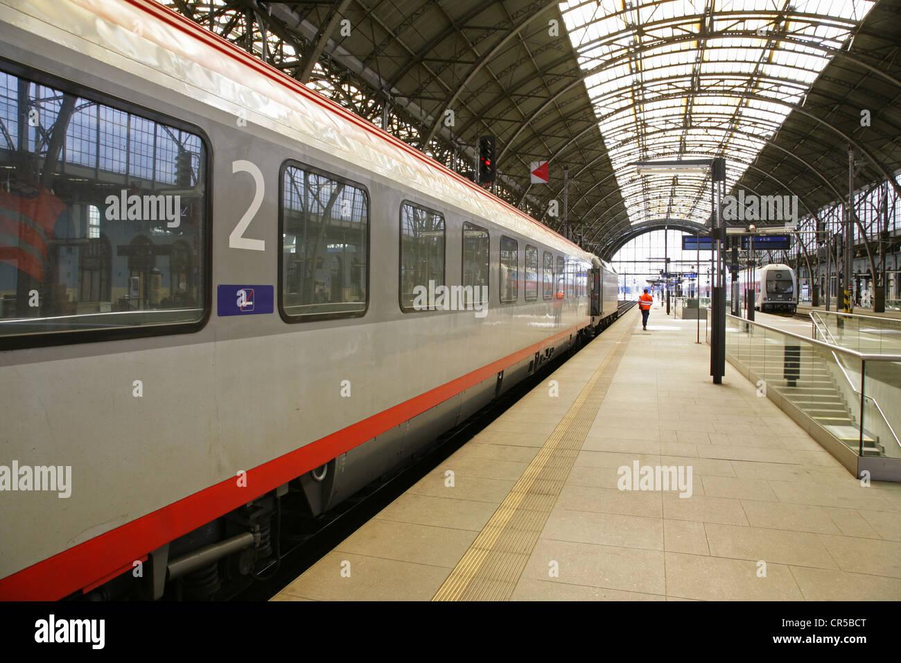 Modern Austrian railways 2nd class carriage at Prague central railway station, Czech Republic. - Stock Image