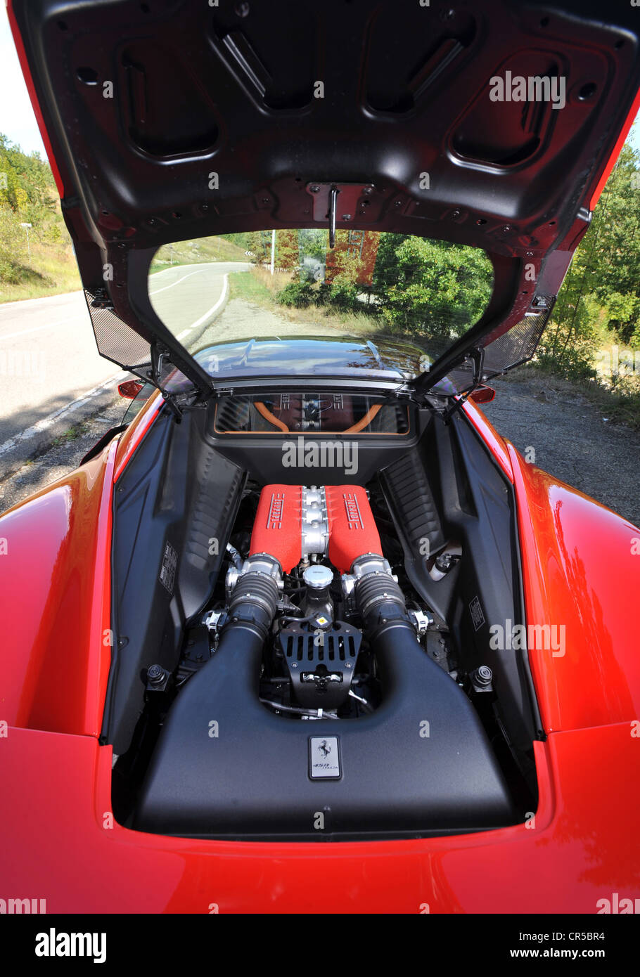 Sell My Car Fast >> 2011 Ferrari 458 Italia red Italian supercar in Modena - engine bay Stock Photo: 48676856 - Alamy