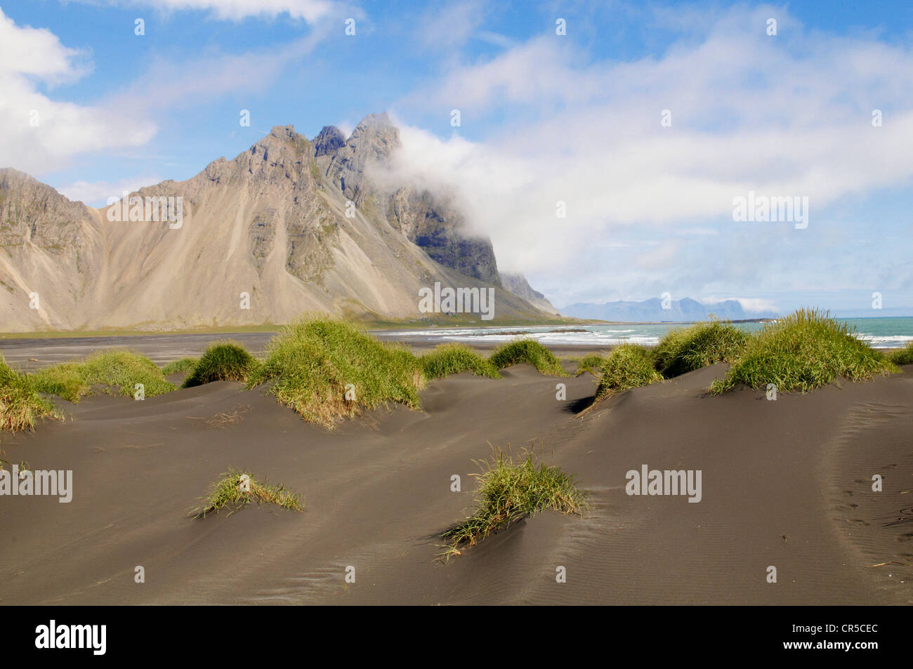 Iceland, Austurland Region, Stokksnes, black sand beach - Stock Image