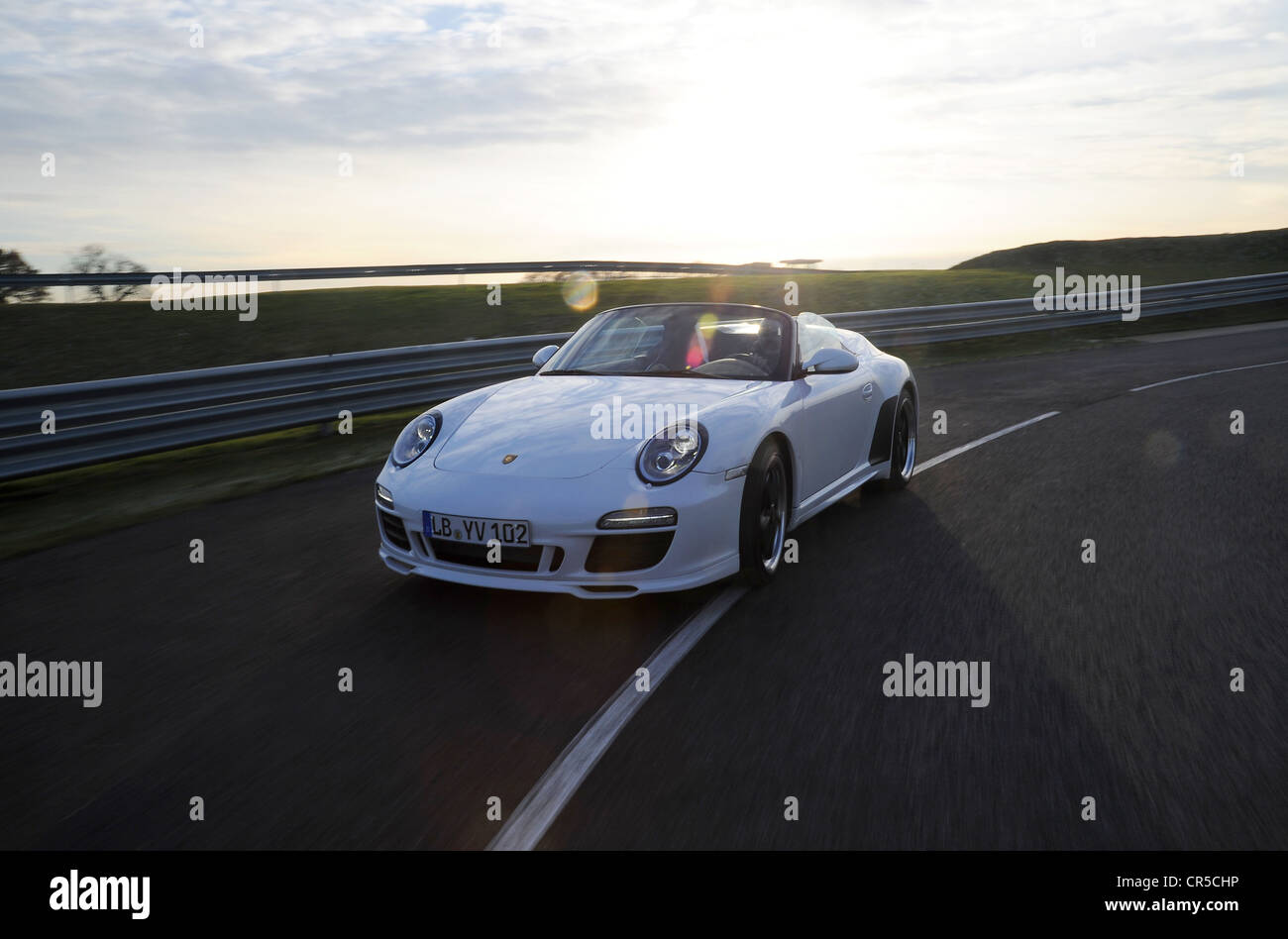 2011 Porsche 911 Speedster limited edition convertible sports car tracking photo picture - Stock Image