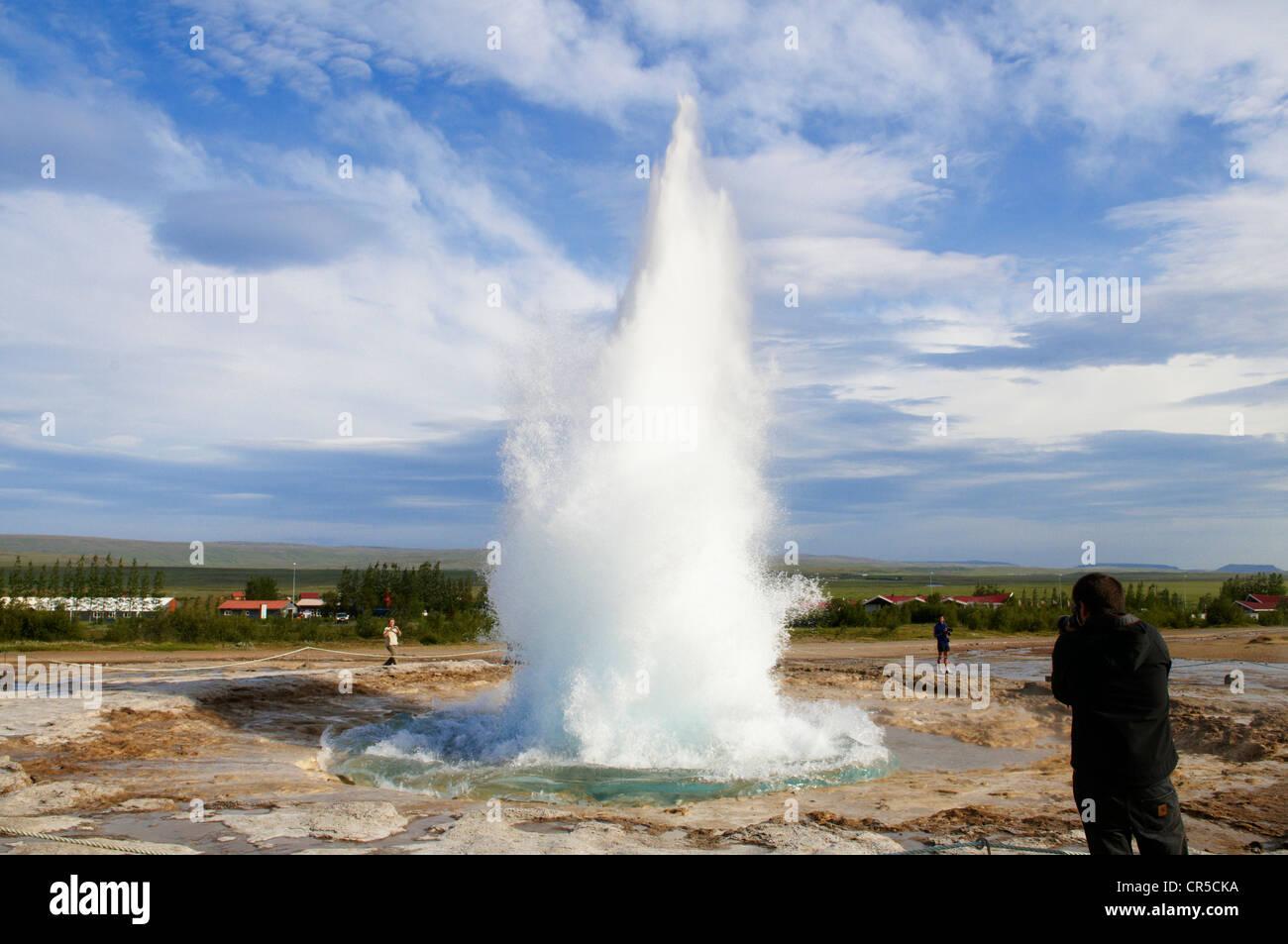 Iceland, Sudurland Region, Haukadalur Valley, Geysir site, Strokkur Geyser Stock Photo