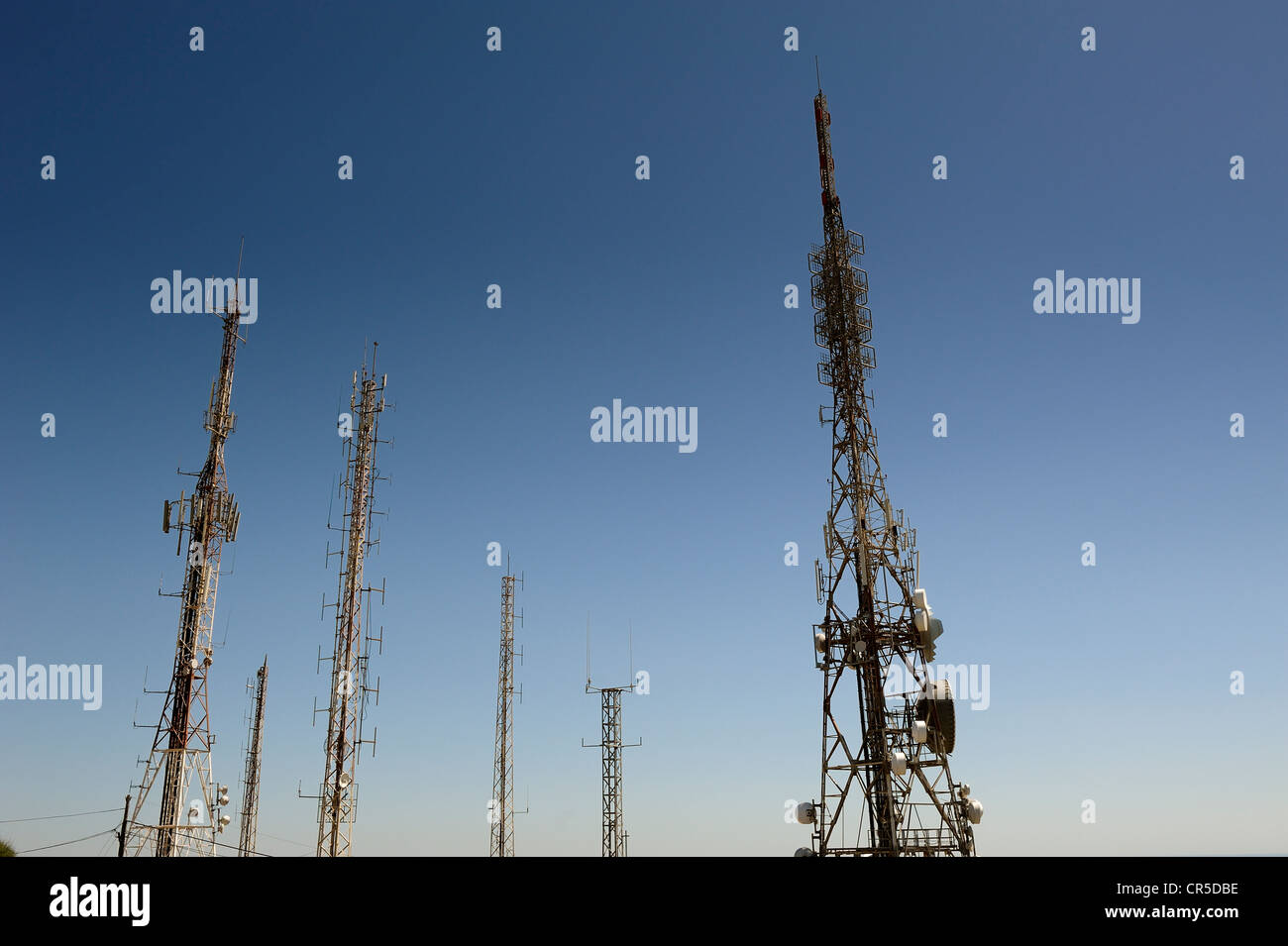 satellite radio television and communication masts on top of monte toro the highest point in menorca spain Stock Photo