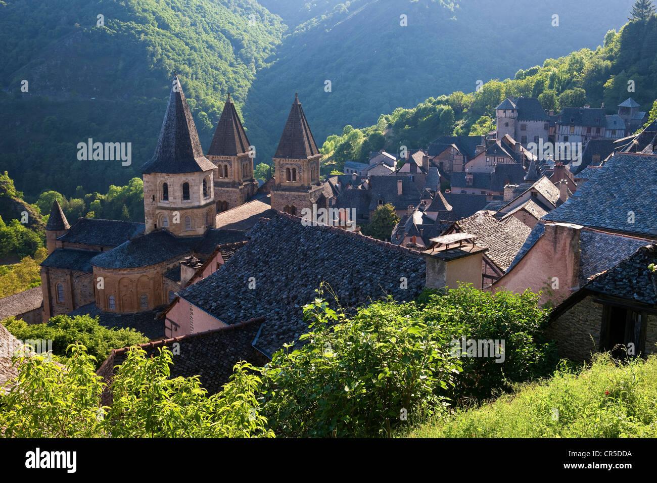 France, Aveyron, Conques, a stop on el Camino de Santiago labelled Les Plus Beaux Villages de France (The Most Beautiful - Stock Image