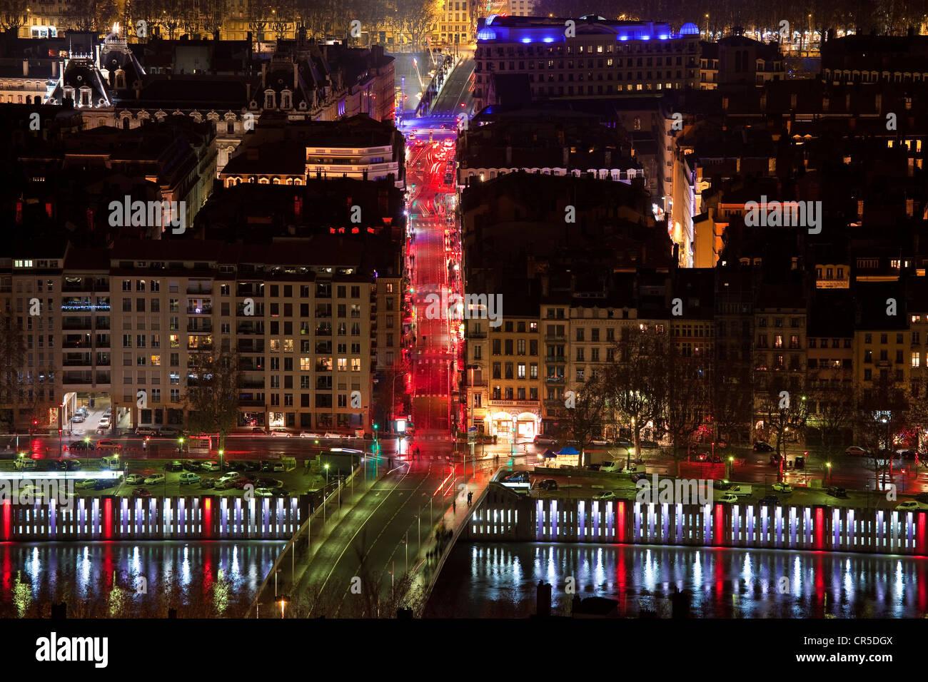 France, Rhone, Lyon, le Cours Lafayette during the Fete des Lumieres (Light Festival) - Stock Image