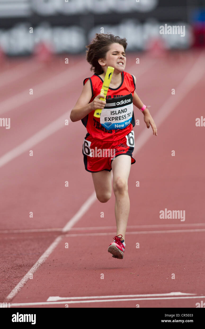 Island Express Track Club competing in the Youth Boys' 4x400m Relay at the 2012 NYC Grand Prix - Stock Image