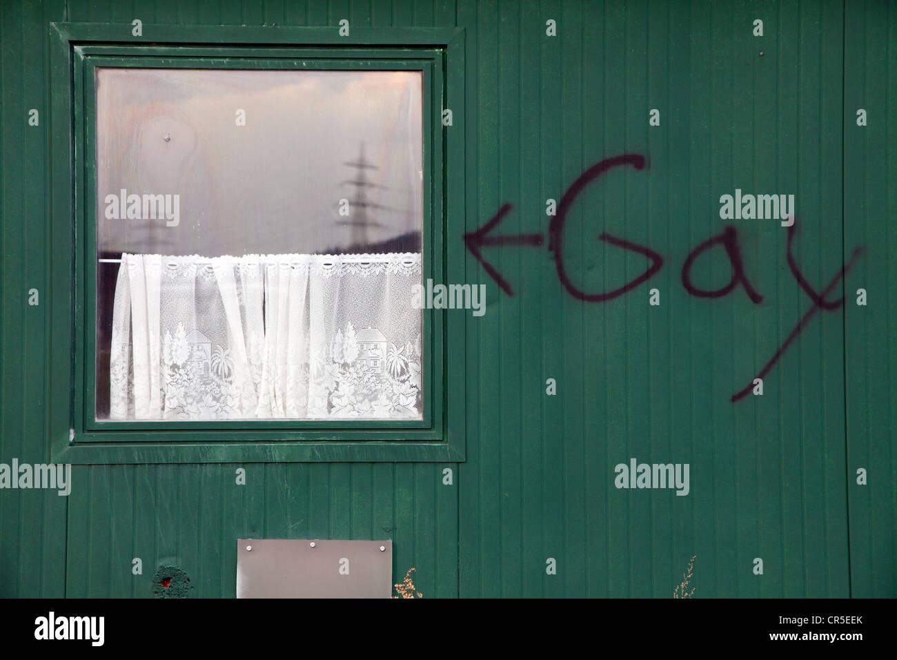 Gay-Gay Graffiti on a trailer, a former trailer. Herten, North Rhine-Westphalia, Germany, Europe. Stock Photo