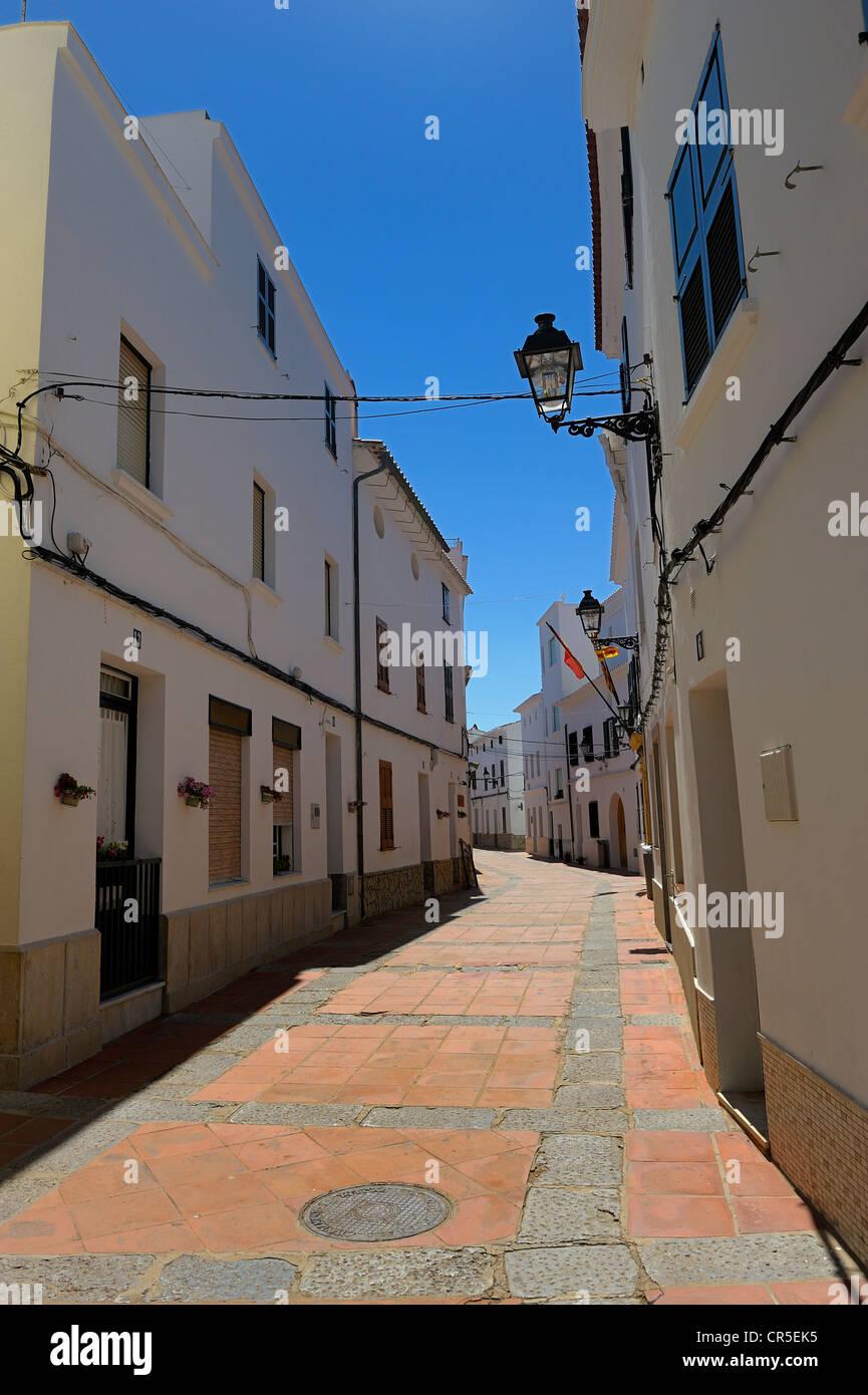 narrow pedestrianized street es mercadel menorca spain - Stock Image