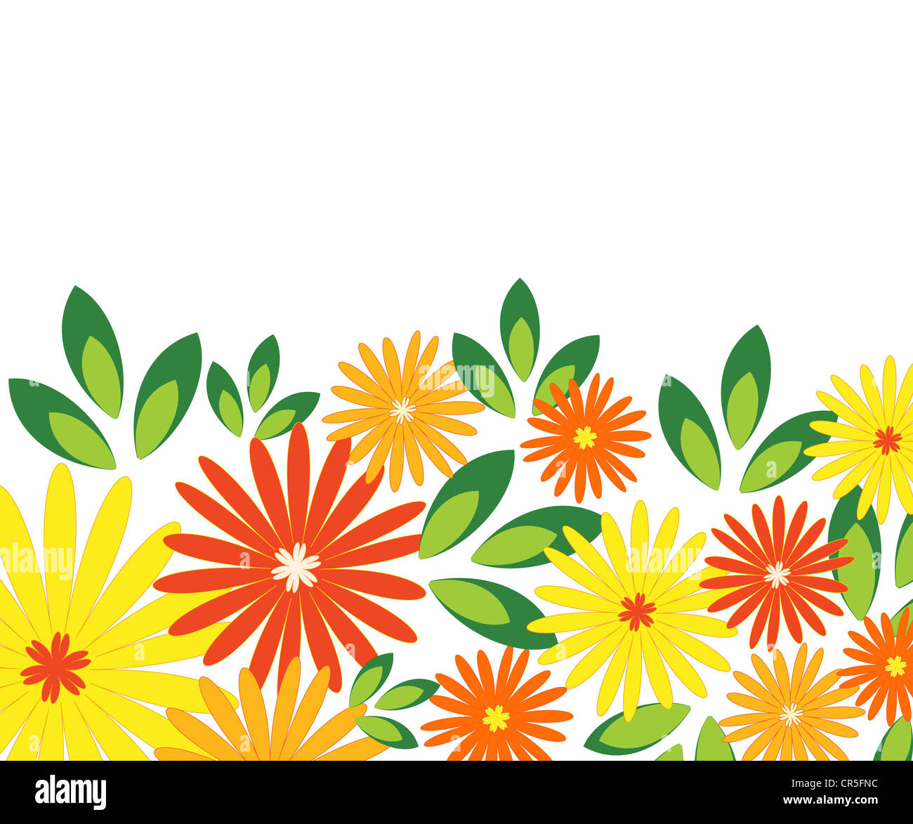 Floral and leaves pattern in bright orange, yellow and green colors Stock Photo