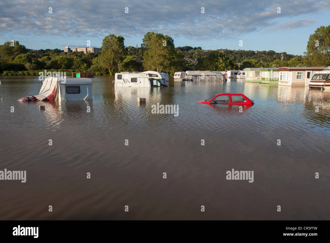 A flooded campsite in Aberystwyth, Wales Stock Photo